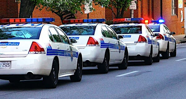 police-lights-cars-baltimore-city-urban-